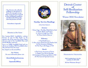 Winter 2018 Newsletter - Detroit Meditation Center of Self-Realization Fellowship